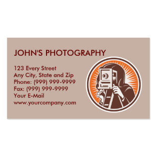 vintage photographer camera shoting aiming Double-Sided standard business cards (Pack of 100)
