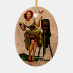 Vintage Photographer Double-Sided Oval Ceramic Christmas Ornament