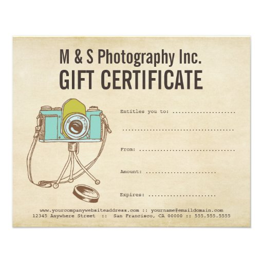 vintage photographers gift certificate template flyer zazzle