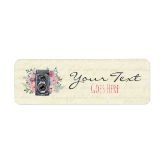 Vintage Photography Camera Rustic Floral Custom Label