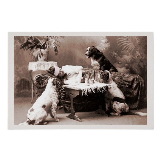 Vintage Photography Hangover with Dogs Poster