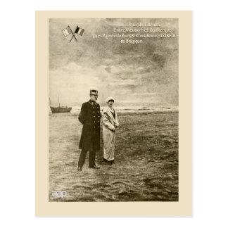 Vintage photomontage King Albert, Queen Elisabeth Postcard