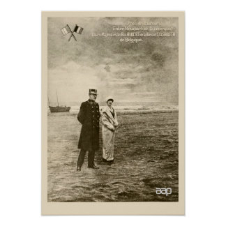 Vintage photomontage King Albert, Queen Elisabeth Poster