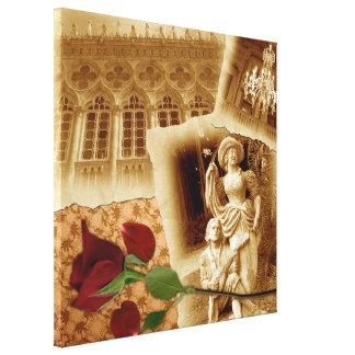 Vintage Photos Shabby Chic Collage Stretched Canvas Print