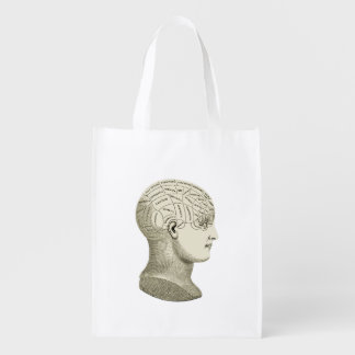 Vintage Phrenology Head Illustration Bag Grocery Bag
