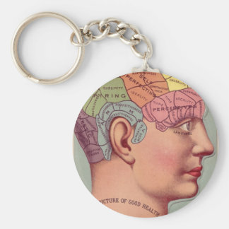 Vintage Phrenology Head Basic Round Button Keychain