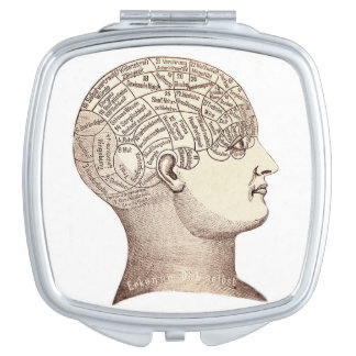 Vintage Phrenology Head Map Mirror Compact