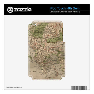 Vintage Physical Map of Greece (1880) Decals For iPod Touch 4G
