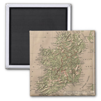 Vintage Physical Map of Ireland (1880) 2 Inch Square Magnet