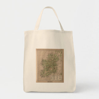 Vintage Physical Map of Ireland (1880) Tote Bags