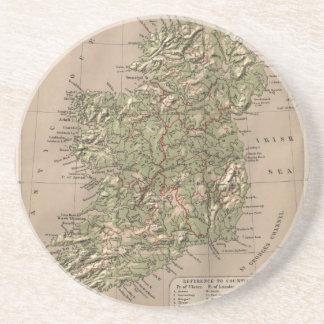 Vintage Physical Map of Ireland (1880) Beverage Coasters