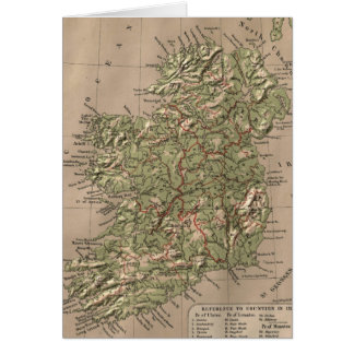 Vintage Physical Map of Ireland (1880) Card