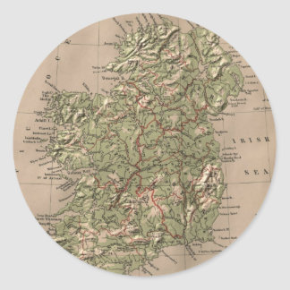 Vintage Physical Map of Ireland (1880) Classic Round Sticker