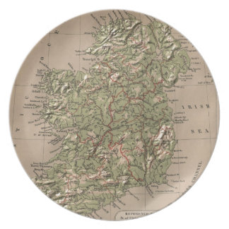 Vintage Physical Map of Ireland (1880) Dinner Plate