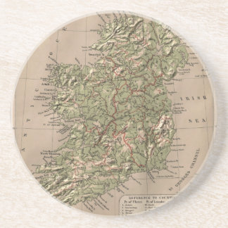 Vintage Physical Map of Ireland (1880) Drink Coaster