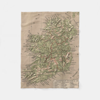 Vintage Physical Map of Ireland (1880) Fleece Blanket