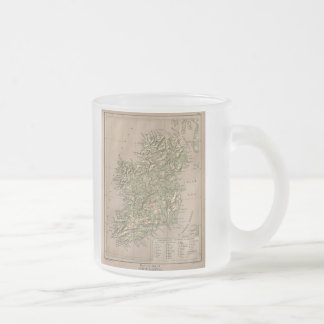 Vintage Physical Map of Ireland (1880) Frosted Glass Coffee Mug