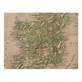 Vintage Physical Map of Ireland (1880) Postcard