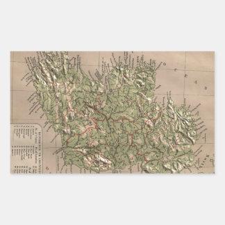Vintage Physical Map of Ireland (1880) Rectangular Sticker