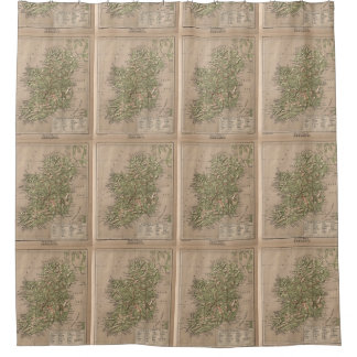 Vintage Physical Map of Ireland (1880) Shower Curtain