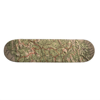 Vintage Physical Map of Ireland 1880 Skate Boards