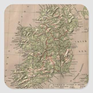 Vintage Physical Map of Ireland (1880) Square Sticker