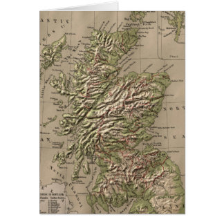 Vintage Physical Map of Scotland (1880) Card