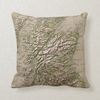 Vintage Physical Map of Scotland (1880) Pillow