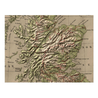 Vintage Physical Map of Scotland (1880) Postcard