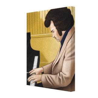 Vintage pianist från 70-talet impresión en lona estirada