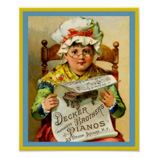 Vintage Piano Ad Decker Brothers Pianos 1880 Poster