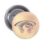 Vintage, piano con el ele floral elegante, pin redondo 5 cm