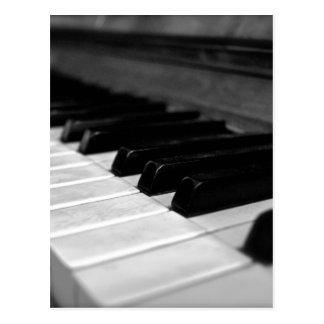 Vintage Piano Keys; Black and White Postcard