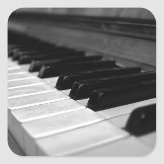 Vintage Piano Keys; Black and White Square Sticker