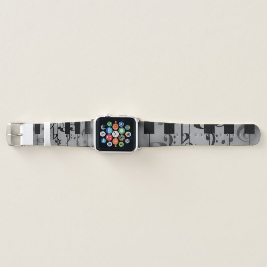Vintage Piano Keys with Musical Accents Apple Watch Band