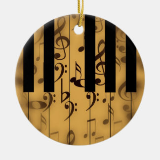 Vintage Piano Keys with Notes Christmas Tree Ornaments