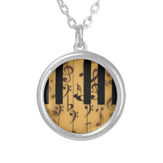 Vintage Piano Keys with Notes Silver Plated Necklace
