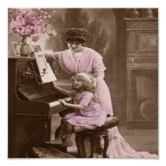 Vintage Piano Lessons Poster