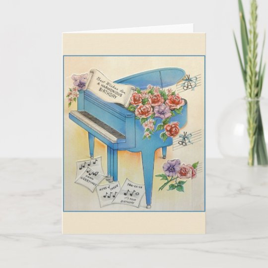 Vintage Piano Music Birthday Greeting Card
