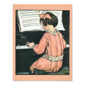 Vintage Piano Music Girl by Jessie Willcox Smith Card