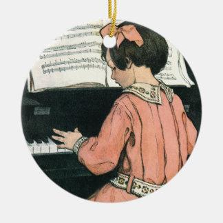 Vintage Piano Music Girl by Jessie Willcox Smith Ceramic Ornament