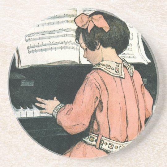 Vintage Piano Music Girl by Jessie Willcox Smith Coaster