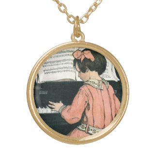 Vintage Piano Music Girl by Jessie Willcox Smith Gold Plated Necklace