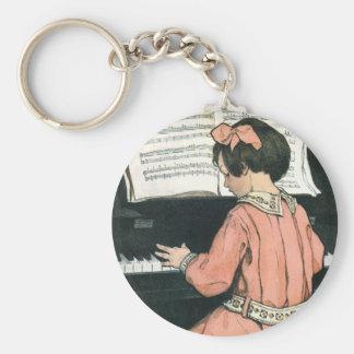 Vintage Piano Music Girl by Jessie Willcox Smith Keychain