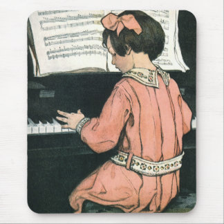 Vintage Piano Music Girl by Jessie Willcox Smith Mouse Pad