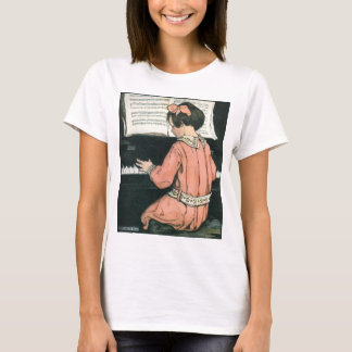 Vintage Piano Music Girl by Jessie Willcox Smith T-Shirt