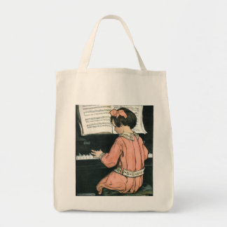 Vintage Piano Music Girl by Jessie Willcox Smith Tote Bag