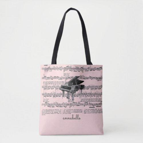 Vintage Piano Music Scores Blush Pink Tote Bag
