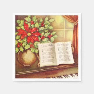 Vintage Piano, Silent Night Pointsettia Christmas Napkin