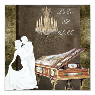 Vintage PIANO Wedding Invitation Antique